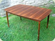 Scandinavian 60's rosewood rectangular dining table with extension leaf