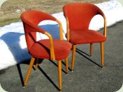 A pair of Swedish 50's birch side chairs with red upholstery