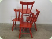 Set of four red chairs