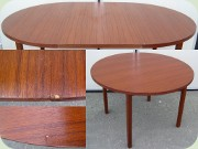 Swedish 50's or 60's teak veneered round dining table with leaf