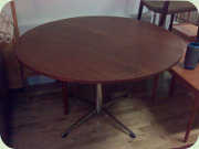 Teak steel base dining table