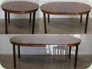 Swedish 60's round rosewood dining table with leaves