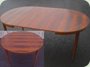60's round rosewood imitating dining table with extension leaves