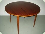 Scandinavian 50's or                           60's round dining table with leaf