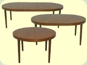 Swedish 50's or 60's round teak dining table with leaves, Skaraborgs Möbelindustri
