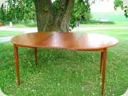 60's teak round dining table diameter 108 cm and leaf 54 cm