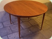 Scandinavian 50's or 60's teak & oak round dining table with leaves