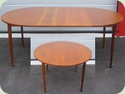 50's or 60's round teak dining table with extension leaves