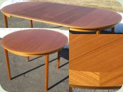 Swedish 60's round teak dining table with leaves
