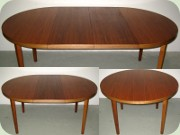 Swedish 60's round walnut dining table with leaves