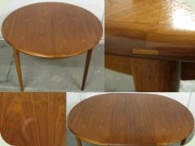60's walnut round dining table with one leaf