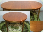Swedish 60's round walnut dining table with folding extension leaves