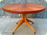 Swedish 50's round teak dining taable on pedestal base by David Rosén Westbergs Furniture Tranås