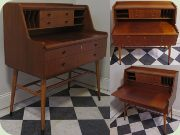 Swedish 50's mahogany secretary/bureau/writing desk with magazine shelf