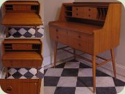 Swedish 50's teak writing desk with magazine shelf