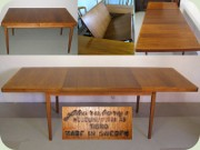 Swedish 60's walnut dining table with folded extension leaf by Skaraborgs Möbelindustri Tibro