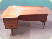 50's Swedish teak desk with shelves and cabinet, Lelångs Möbelfabrik Bengtsfors.