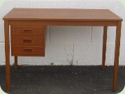 Swedish 50's teak desk with 3 drawers