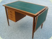 50's teak drop leaf desk with top in green vinyl