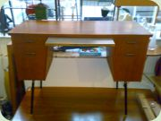 Swedish 50's teak desk with black lacquered steel legs