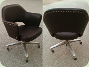 60's dark brown vinyl office chair on swivel base
