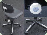 Danish 60's chrome office chair by Savo A/S, upholstered in black vinyl