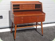 50's mahogany secretary with magazine shelf, Scandinavian design