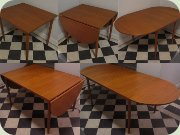 60's teak dop leaf table with extension leaf