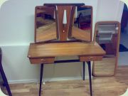 50's dressing table with folding mirrors & lamp