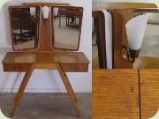 Swedish 50's teak vanity table with lamp and tilting mirrors
