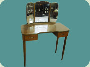 Sedish 50's or 60's                           teak dressing table with mirrors and 2                           drawers, Fröseke AB Nybrofabriken