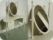 60's off white                           lacquered vanity table with tilting mirror