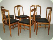 Set of 6 Swedish 60's walnut & black vinyl dining chairs by Carl-Ewert Ekström, Albin Johansson & Söner