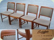 Set of four 60's teak dining chairs, Swedish design by Bertil Fridhagen, Bodafors