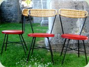 Swedish 50's chairs Holm Populär by Åhlén                           & Holm, black lacquered metal with rattan                           back and seat upholstered in red vinyl