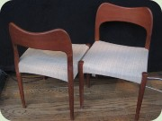 A pair of teak side chairs, Danish design by Arne Hovmand-Olsen, Mogens Kold.