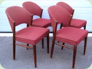 Set of 4 Scandinavian 50's upholstered                           side chairs