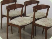 Set of four late 50's or 60's Scandinavian design chairs