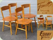 Set of four 50's teak & birch Fanett chairs, Finnish design by Ilmari Tapiovaara made in Sweden by Edsbyverken