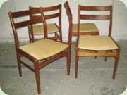 Set of four Scandinavian 60's teak chairs
