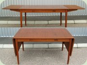 Swedish 60's teak drop leaf desk or dining table with drawers by Nils Jonsson, Troeds