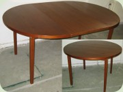 Swedish 60's round teak dining table with leaf, Ulferts Tibro