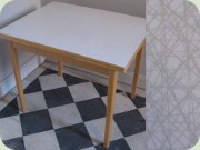 50's dining table, Perstorp laminate with the pattern Virrvarr by Sigvard Bernadotte