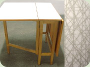 Swedish 60's Perstorp                           laminate gateleg table in the pattern Virrvarr                           by Sigvard Bernadotte