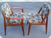 Ellen teak side chairs & arm chairs, Danish design by Arne Vodder & Anton Borg Vamo 1955